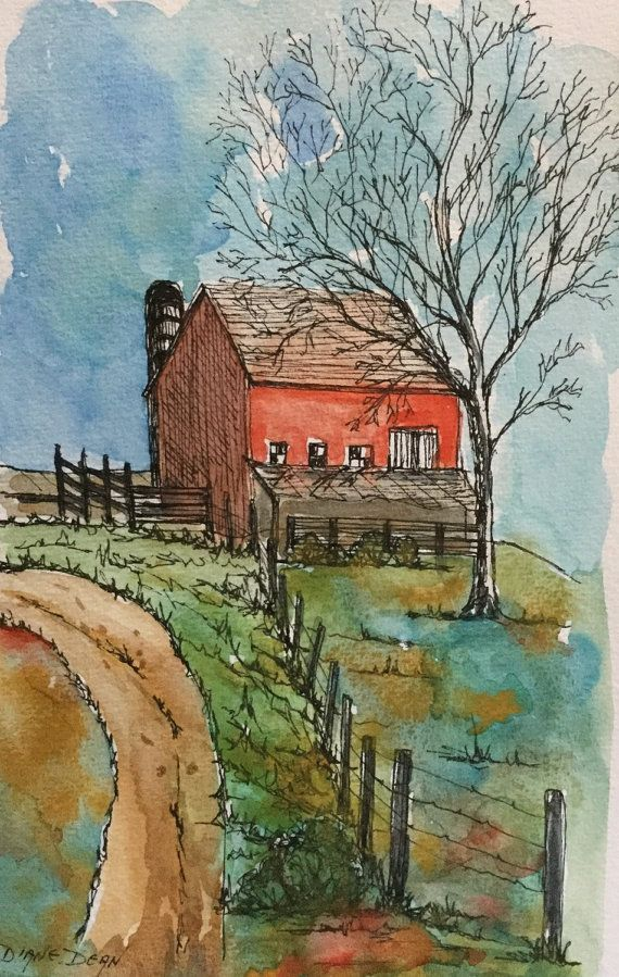 Art and Collectibles/Original Watercolor and Ink Painting ...