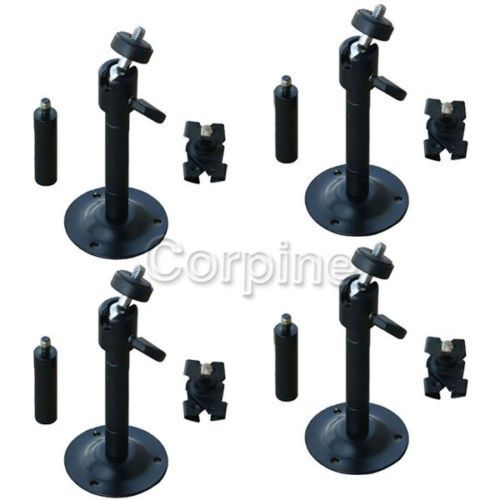 4 Pack Steel Camera Mount Bracket Black 2 6 Inch Adjustable Tilt 1 4 Inch 20 Threads Wall Plate Drop Ceiling Clip For Cctv Dvr Security Sur Plates On Wall Dropped Ceiling Security Surveillance