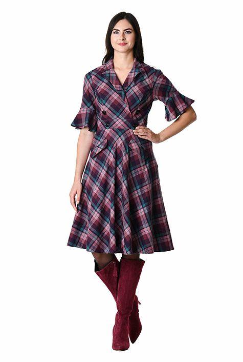 f97f347cf9 Notch collar cotton plaid surplice dress-CL0060484