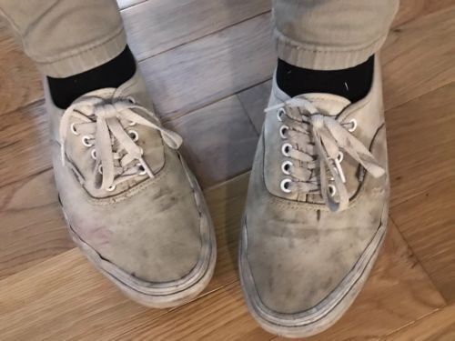 ab5ffcae1c Details about Trashed Vans Classic Canvas Skater Sneakers Shoes Worn ...