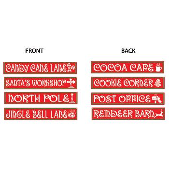 The North Pole Sign Cutouts come with 4 signs, each with a different name on the front and back of the sign. The 4
