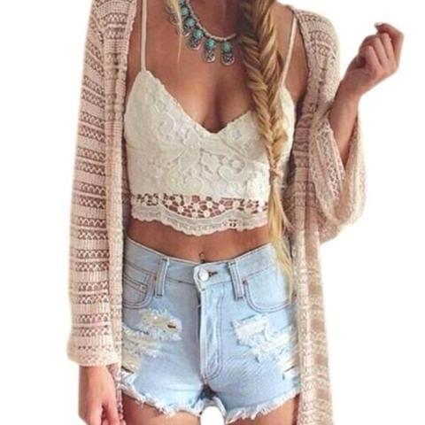 258dafa8574cf Lace Vest Women Crochet Tank Camisole Blouse Bralette Bra Crop Top  Sleeveless White Fashion vest 17Aug16