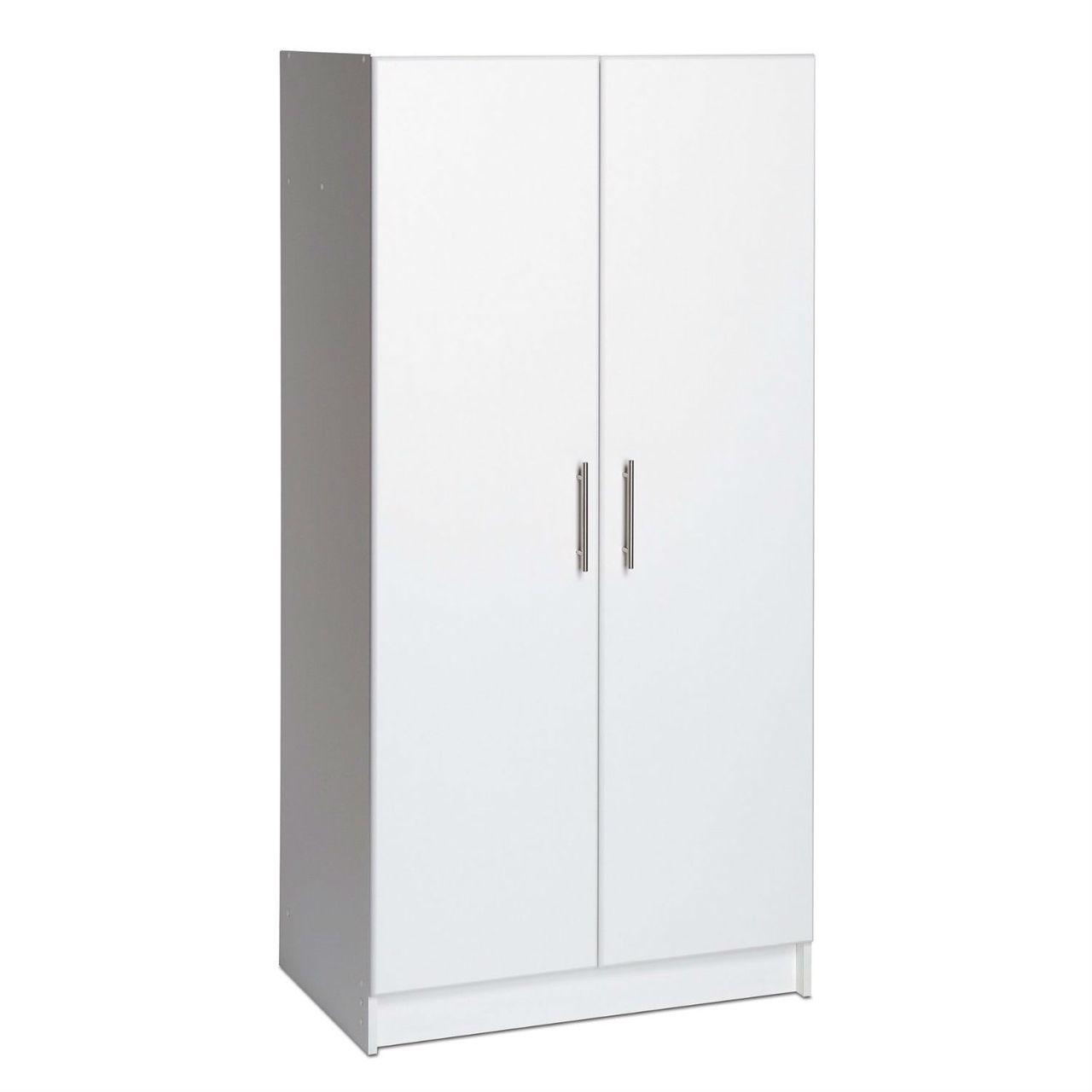 White 2 Door Wardrobe Cabinet With Hanging Rail And Storage Shelf