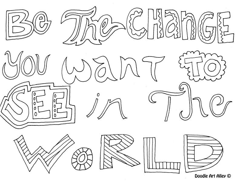 Be The Change You Want To See In The World Free Coloring Page