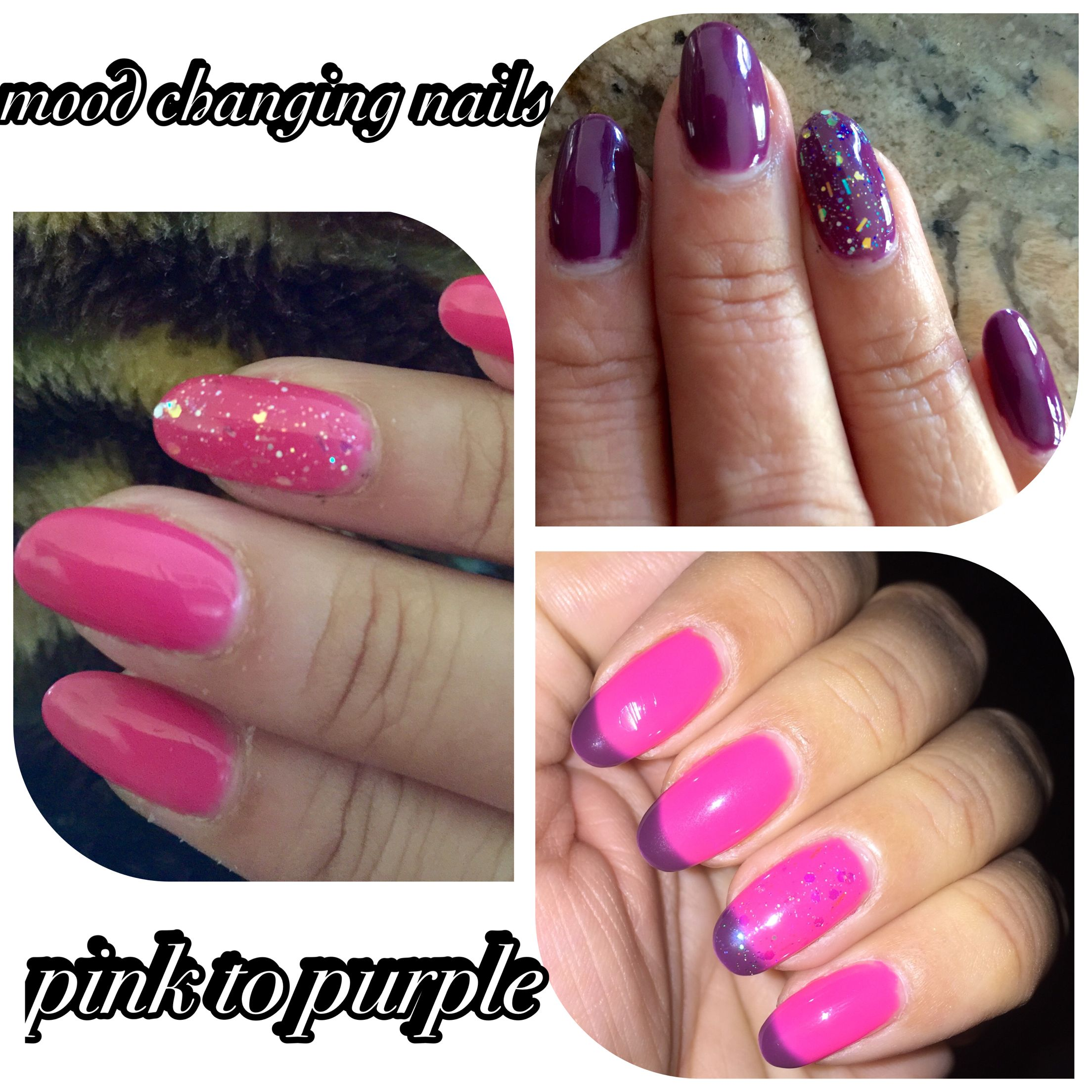 Mood Changing Nail Color Pink To Purple Sometimes Ombr Effect