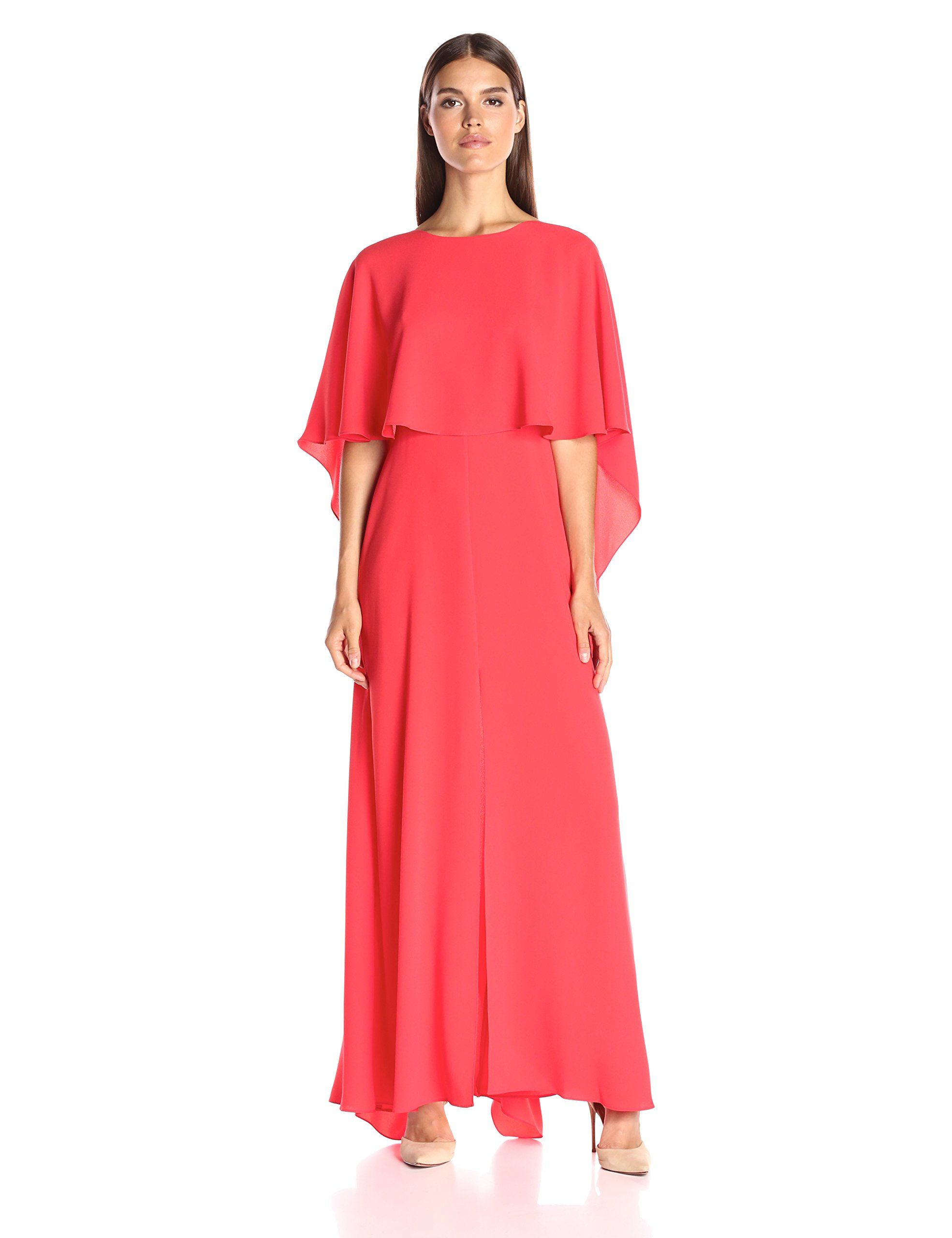 Bcbgmax azria womenus jamey long cape sleeve dress bright poppy