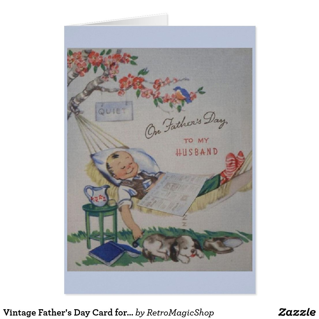 Vintage Fathers Day Card For Husband Cards