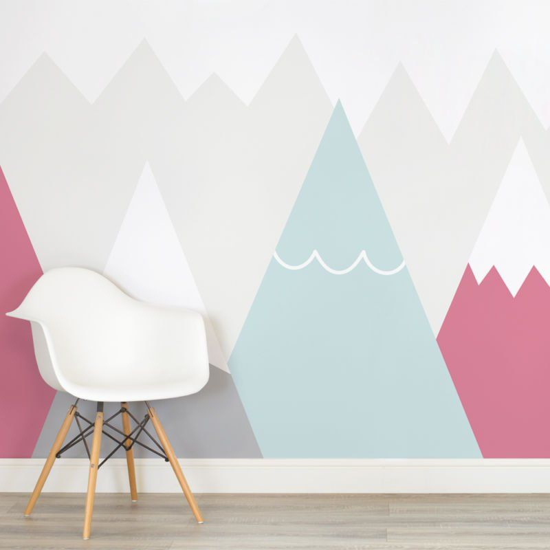 Kids Pink And Blue Mountains Nursery Square Wall Mural Playing
