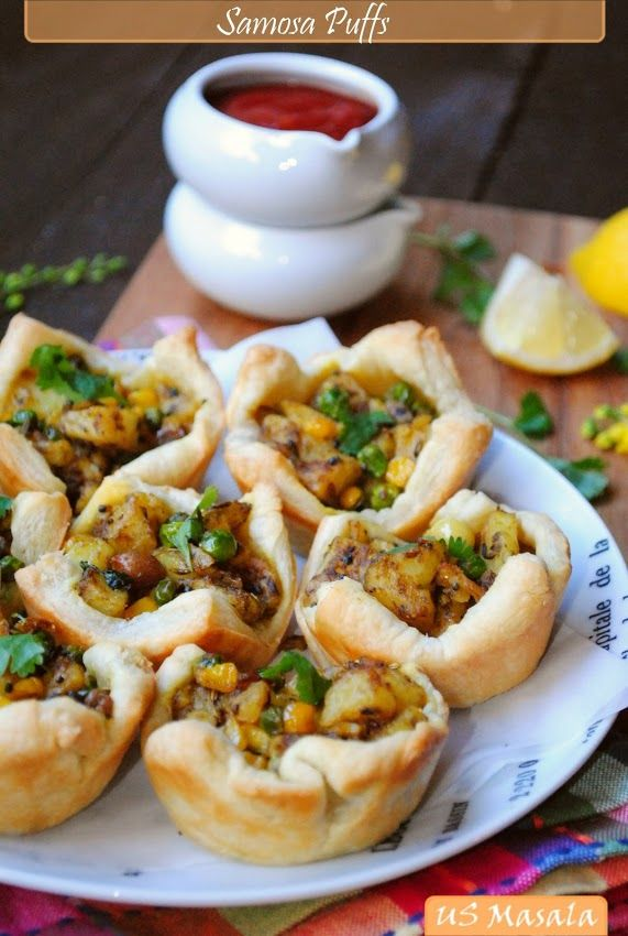 Samosa puffs using puff pastry for a quick and impressive starter indian appetizers forumfinder Choice Image