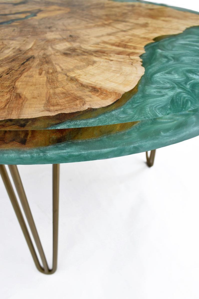 Peinture Résine Pour Meuble En Bois wooden coffee table with epoxy resin gold legs, modern style
