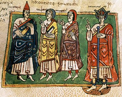 Theodemar (or Ariamir), king of Galicia with the bishops Lucrecio, Andrew, and Martin. Codex Vigilanus (or Albeldensis), ~10th century, Escurial library