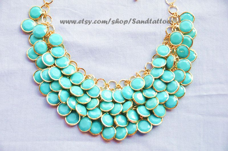 Sale- Aqua- Turquoise- Round Facet Bib Necklace, Bubble statement necklace, Easter Gift, Mermaid Gift. $19.00, via Etsy.