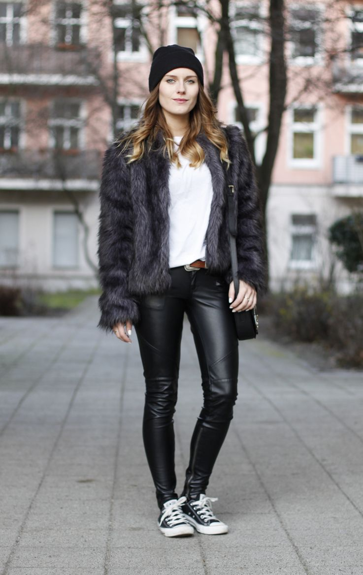 converse shoes leather look trousers
