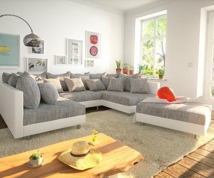 DELIFE Wohnlandschaft Clovis Weiss Hellgrau Modulsofa Hocker - big sofa oder wohnlandschaft