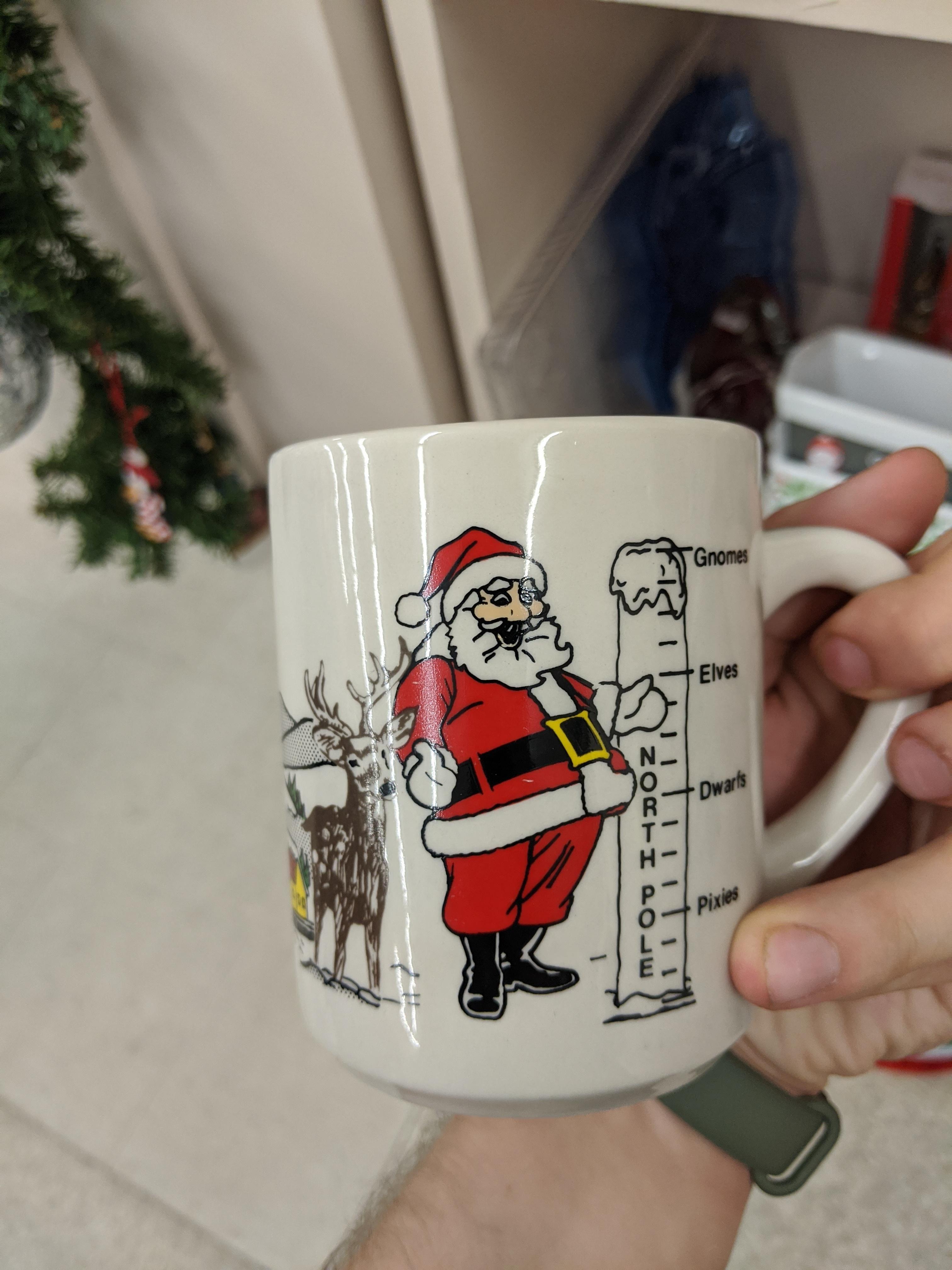 This Christmas Mug Has A Santa Next To A Height Chart Coffee Coffeemug Mug Cafe Espresso Photography Coffeeaddict Yu Christmas Mugs Mugs Coffee Addict
