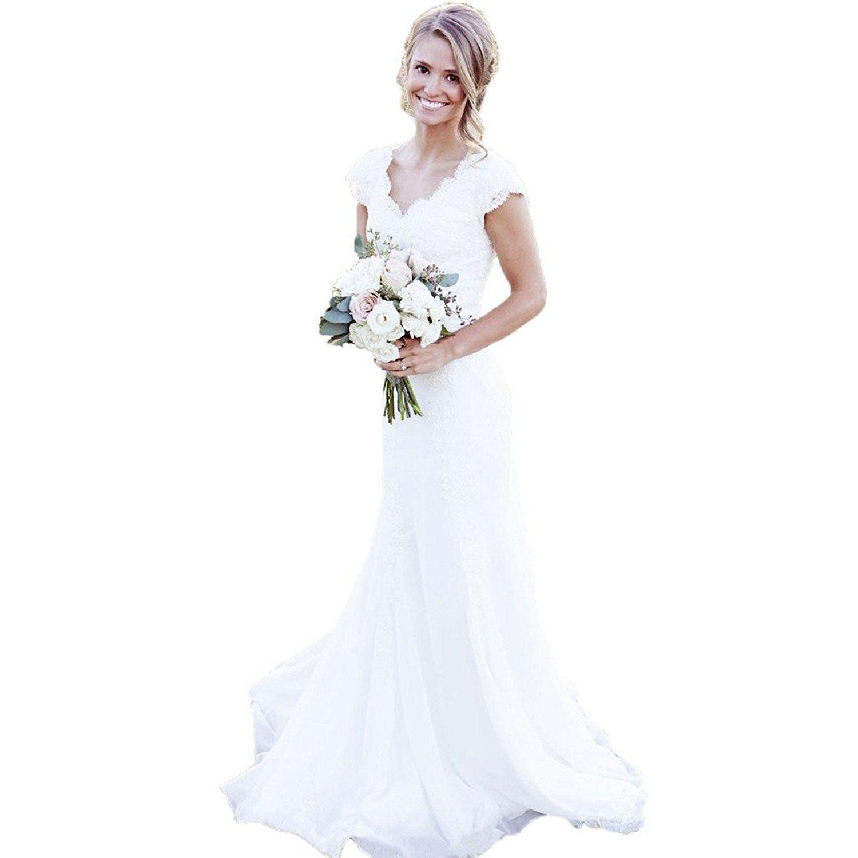 Spbridal Lace V Neck Cap Sleeves Mermaid Wedding Dress For