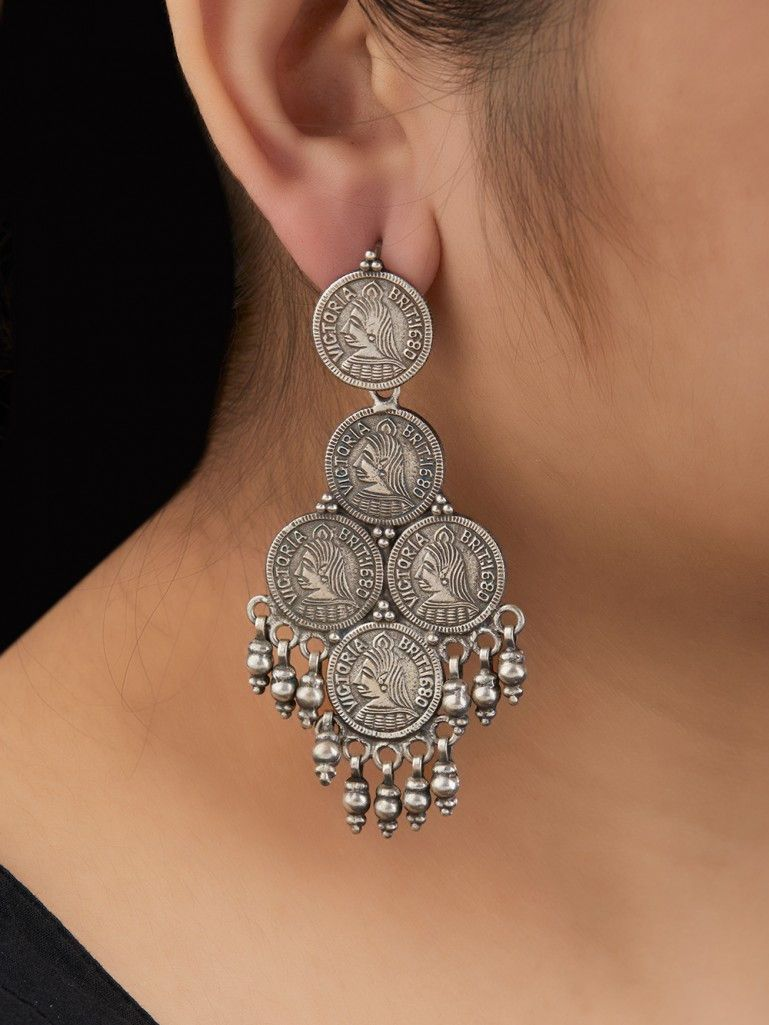 b9e065655 Tribal Handcrafted Silver Coin Earrings | design to wear | Silver ...