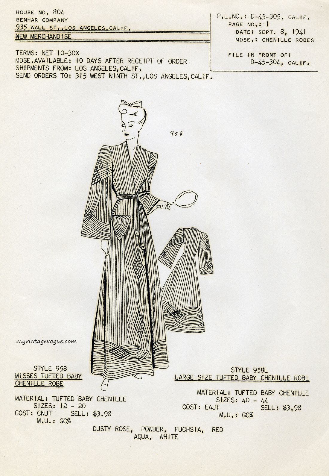 1941 Fashion Style | Benhar Company 1941 | WWII Era Fashions