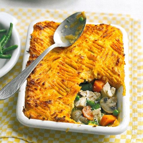 Photograph of healthy chicken and leek pie recipe