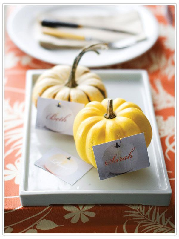 Thanksgiving name cards!  This is what to do with all the left over pumpkins from the wedding!