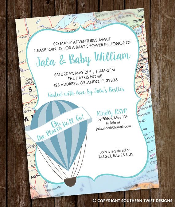Travel Baby Shower Invitation Hot Air Balloon