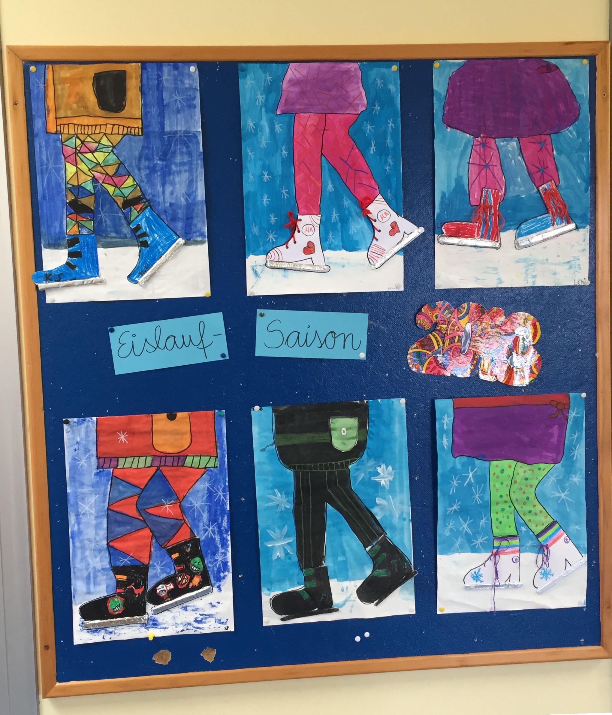 Winter Kunst Grundschule Eisläufer Collage Wasserfarben #wasserfarbenkunst