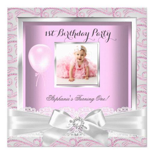 1st Birthday Party Girls Pink Diamonds Custom Invitation Card - invitation for 1st birthday party girl