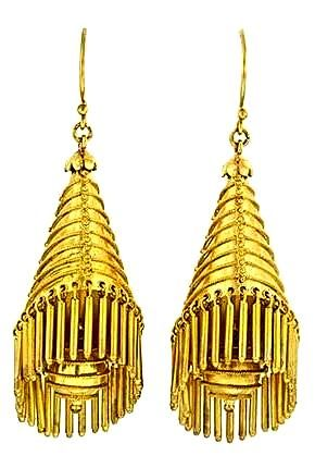 Castellani Victorian conical fringe earrings with granulation and wirework decoration.