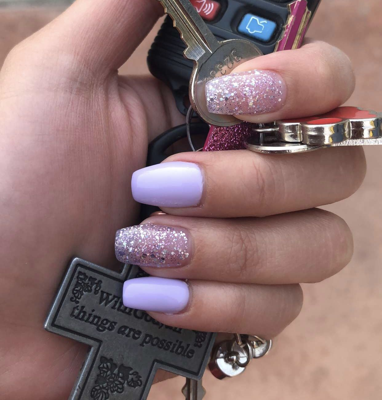 Short Coffin Light Purple Nails With Glitter Light Purple Nails Purple Glitter Nails Purple Nails