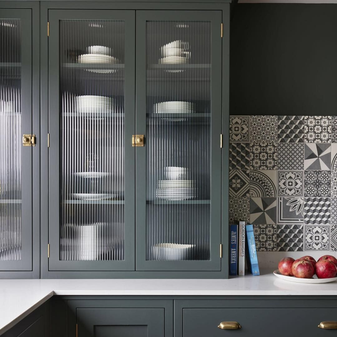 Fluted Glass Cupboards Are A Great Place To Store Crockery And Glassware The Texture Glass Kitchen Cabinets Glass Cabinet Doors Kitchen Cabinets Glass Inserts
