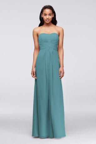 Teal Strapless Chiffon Bridesmaid Dresses