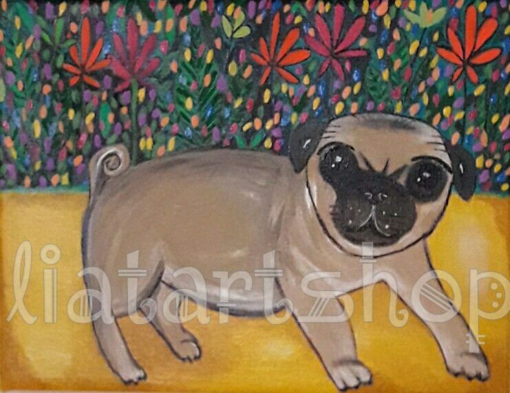 painting,wall art,original painting,acrylic painting,original art,canvas art,pug,dog,dog lover,art ,dog painting,pet art,dog art,fine art by Liatartshop on Etsy