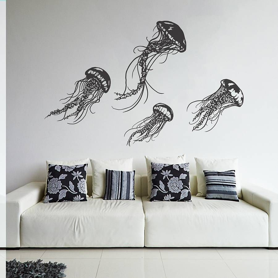 jellyfish wall sticker set by oakdene designs notonthehighstreet jellyfish wall sticker set