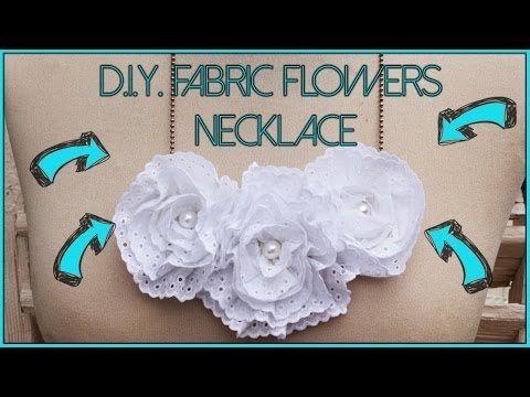 D.I.Y. fabric flowers necklace ♡ Collana con fiori in passamaneria fai da te - YouTube