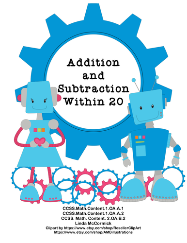Math Addition & Subtraction Within 20 Worksheets Robots Theme | Math ...