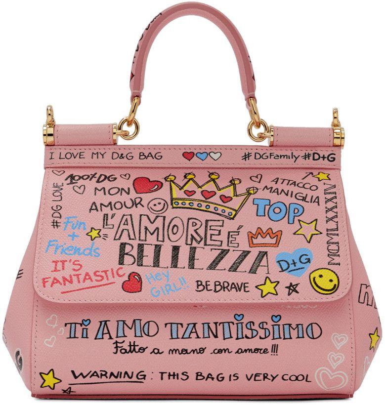 Dolce   Gabbana Pink Small Graffiti Miss Sicily Bag  c2bbd058b70ed