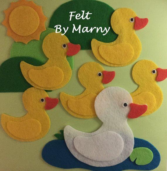 Five little ducks felt board story circle by for Felt storyboard templates