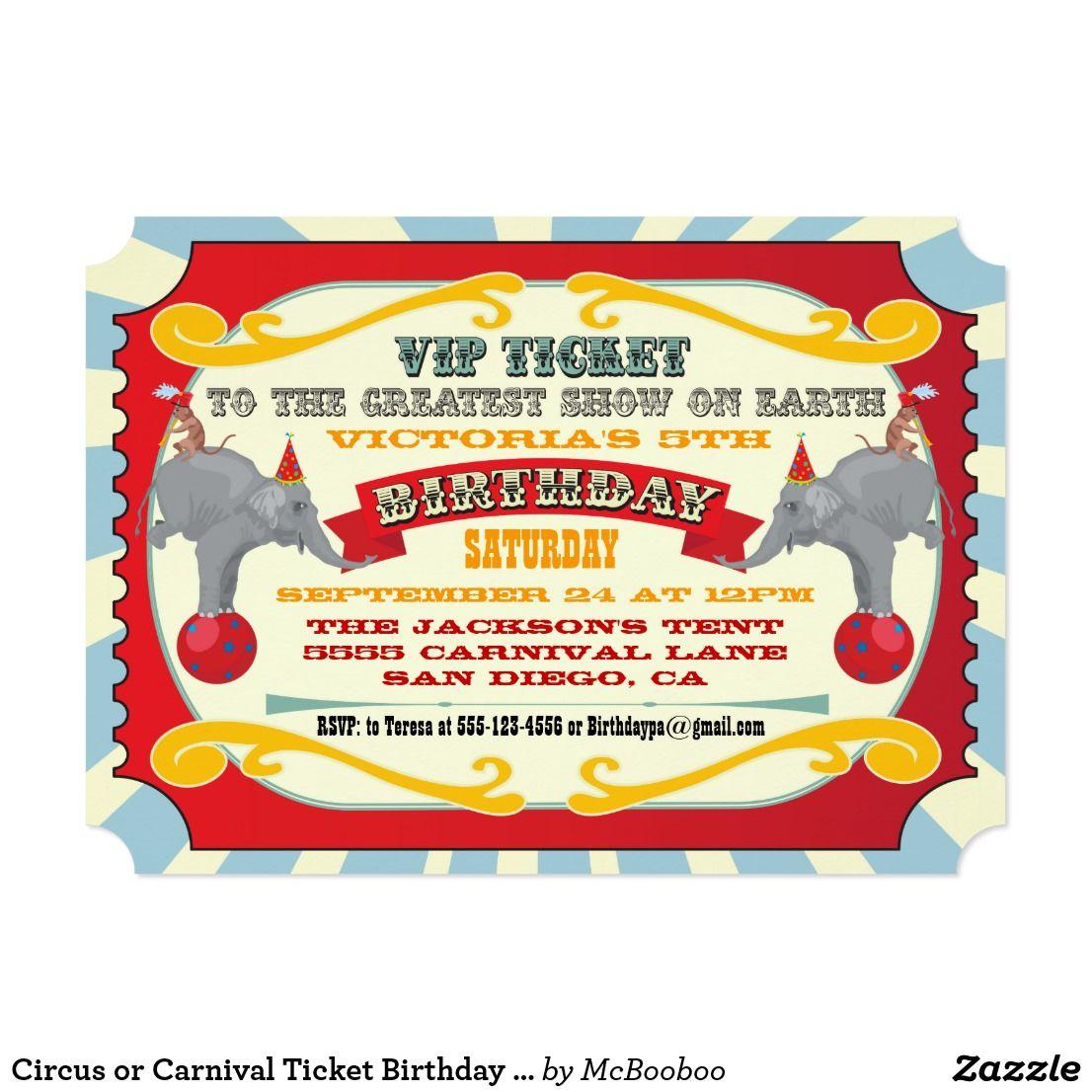 Circus or Carnival Ticket Birthday Invitation | Carnival tickets ...