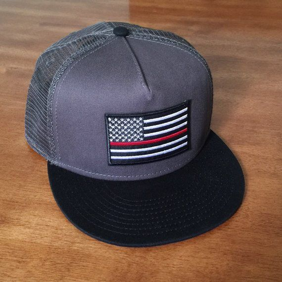 Thin Red Line AMERICAN FLAG/Charcoal with Black Bill Trucker