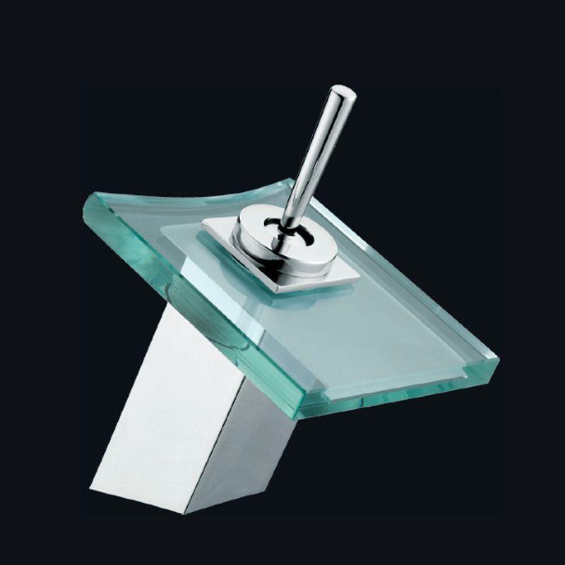 Moderno grifo en cascada de cristal, ideal para combinar con nuestros muebles de baño.