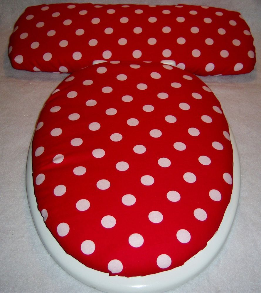 Nice RED With WHITE POLKA DOTS Dot Elongated Toilet Seat Lid/Tank Lid Cover Set