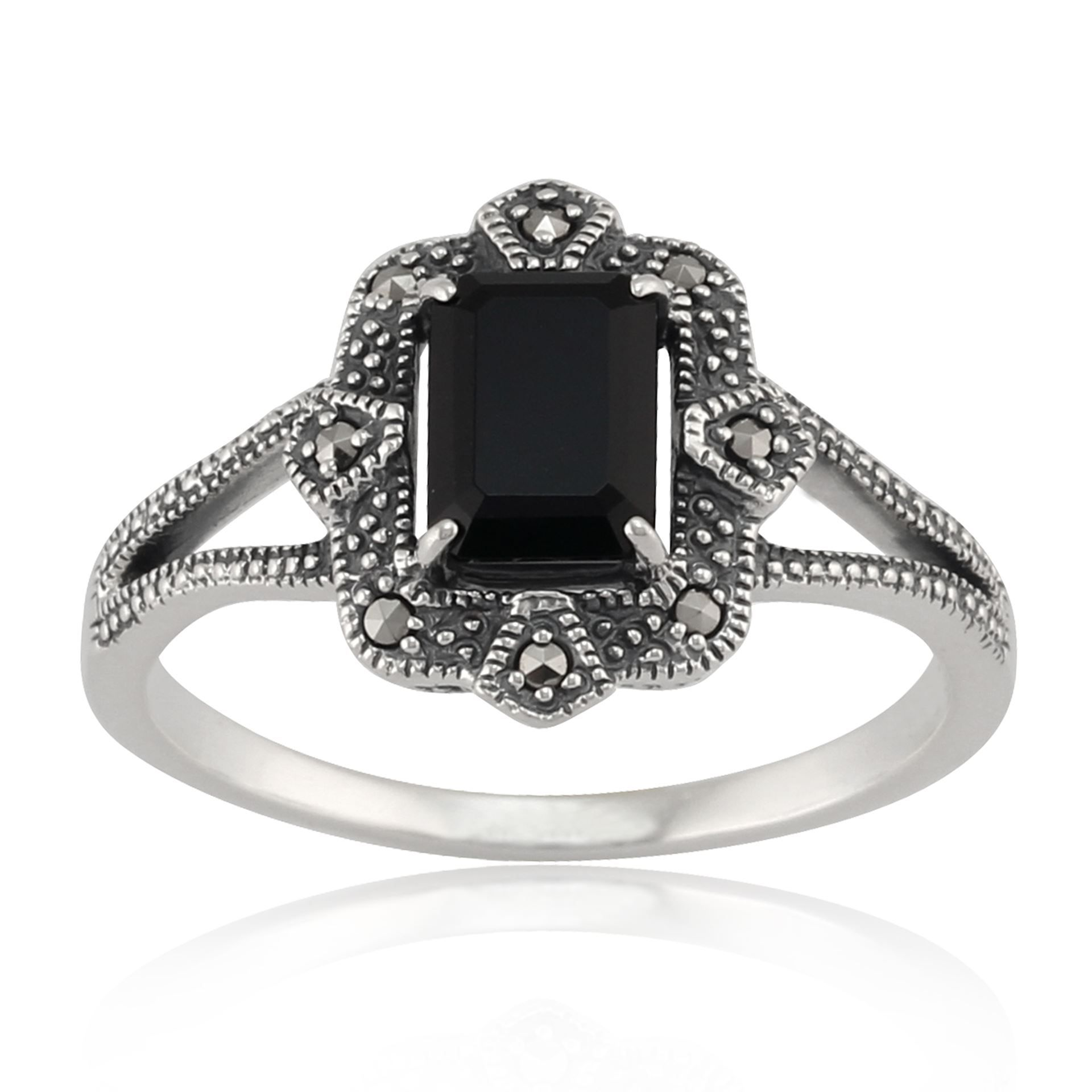 925 Silver 1ct Created Pink Sapphire /& Black Spinel Square Ring