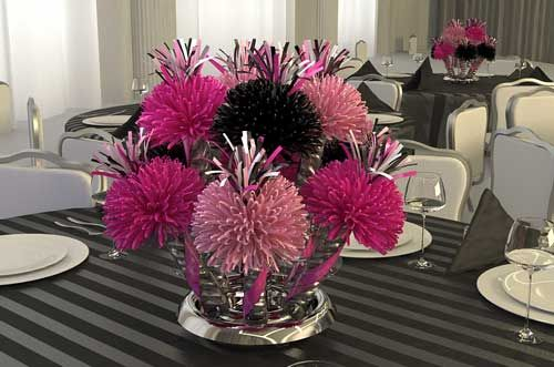 Pink Black And White Wedding Centerpieces Centerpieces Party