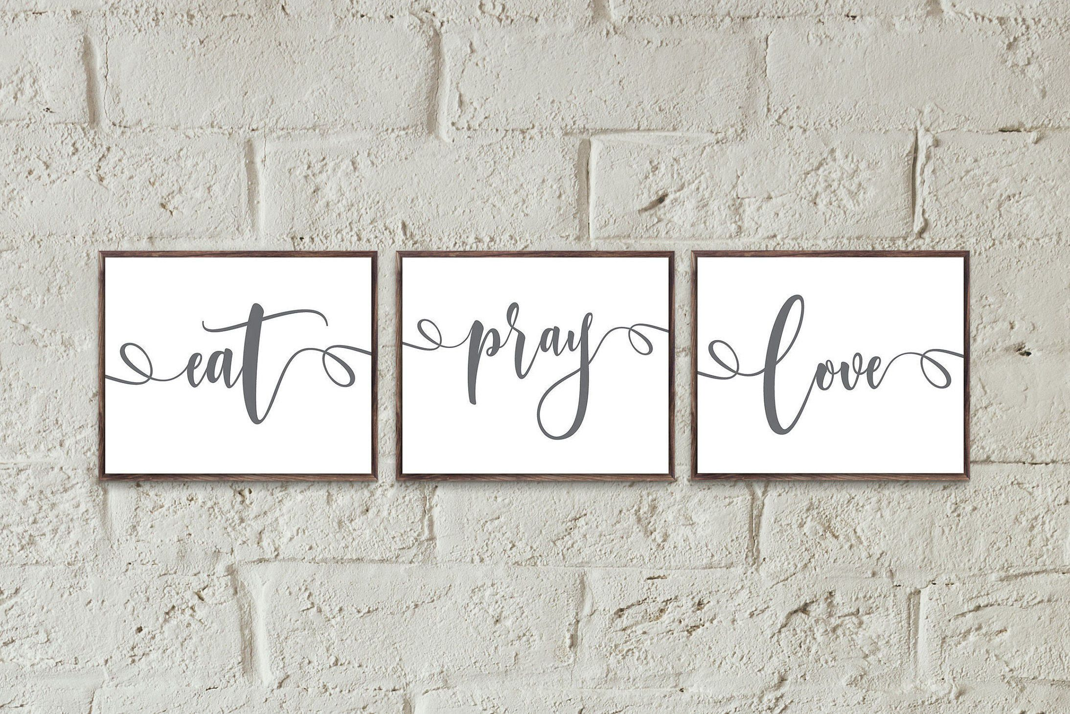 Eat pray love horizontal wall art kitchen wall decor set kitchen