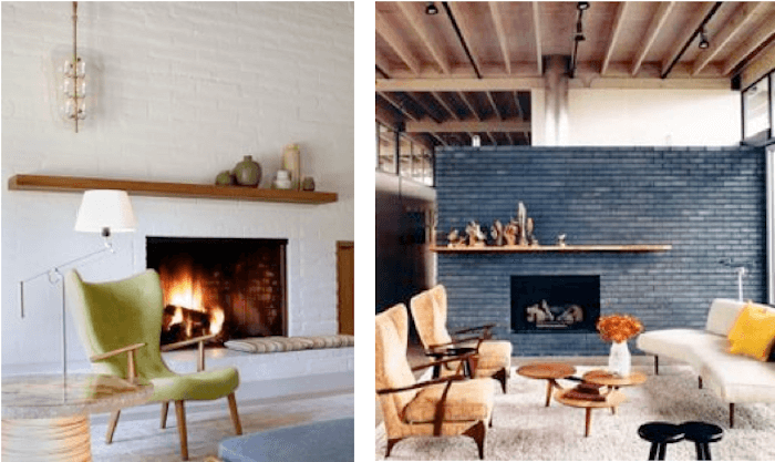 Weekend Makeover Mid Century Eclectic Artist Emily Henderson Brick Fireplace Makeover Painted Brick Walls Mid Century Modern Living Room