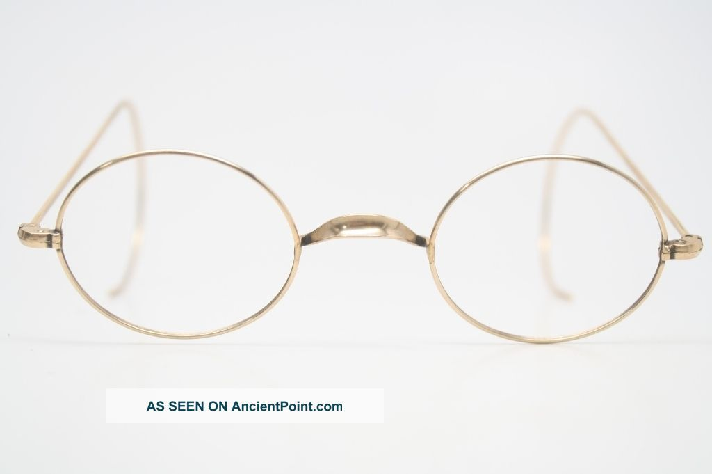 vintage eye glasses 110 12k gold oval wire rim riding temple antique frame 1093