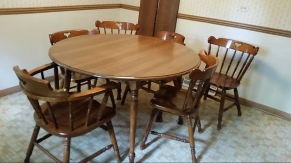 Vintage Kitchen Table 6 Chairs By Tell City Maple Finish TellCity Traditional