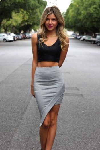 46c0bd1e3 Womens fashion I like. asymmetrical skirt crop top. If I could pull this  off is be the happiest girl in the world