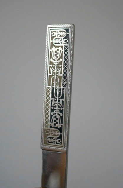 Vintage Mid Century Ethnic Stainless Letter Opener Ruler Knife w/ Leather Case