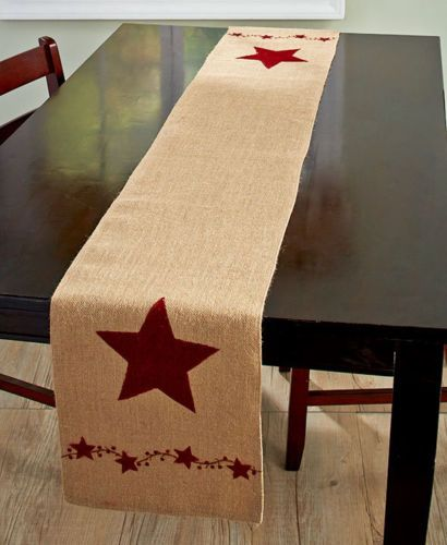Burlap Country Stars Berries Table Runner Rustic Primitive Kitchen Decor